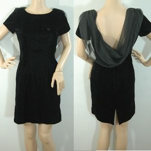 Vintage 80s Dress New Old Stock Black Velvet 2P